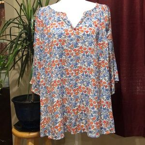Democracy floral boho peasant top v neck size XL